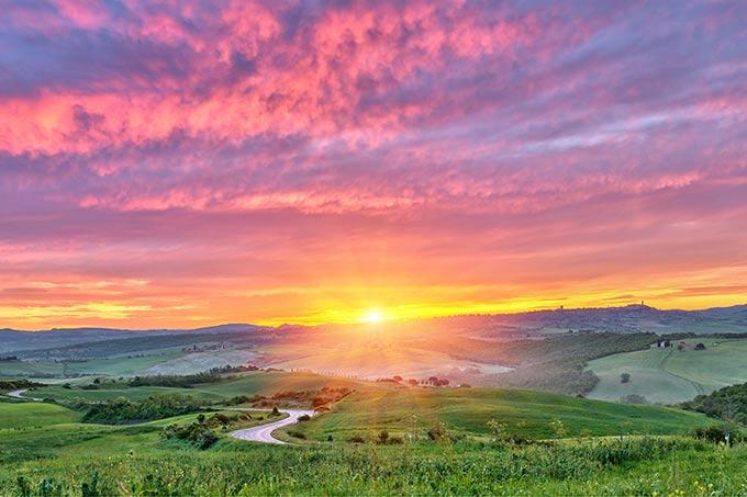 Sunrise On Tuscany Countryside