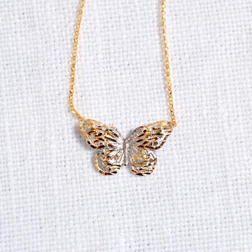 Girocollo Con Ciondolo In Oro A Forma Di Farfalla (4)